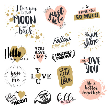 Valentine day signs collection hand drawn vector illustrations hand drawn vector illustrations for greeting cards love messages m4hsunfo