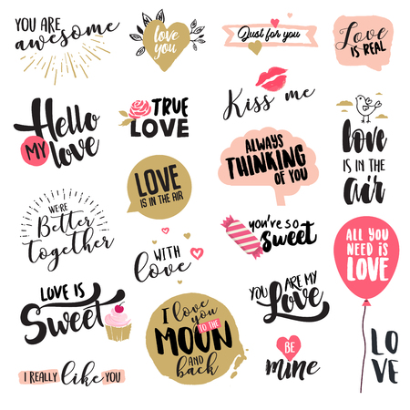 Set of Valentine day stickers and badges. Hand drawn vector illustrations for greeting cards, love messages, social media, networking, web design.