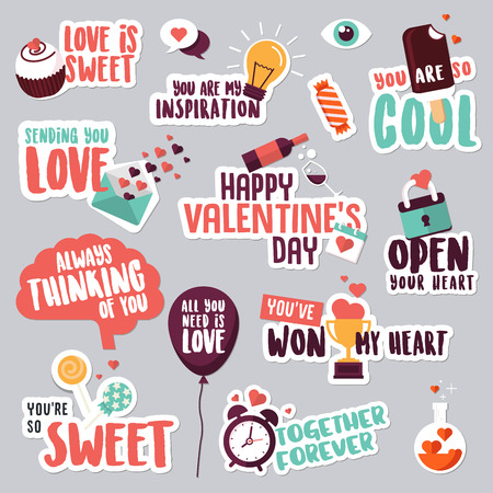 amore: Set of love stickers for social network. Sweet and funny stickers for mobile messages, chat, social media, networking, web design. Stickers for Valentine day, wedding, love messages.