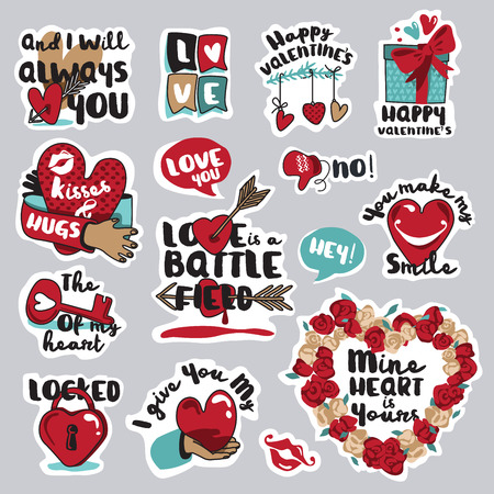 social web: Set of love stickers for social network. Sweet and funny stickers for mobile messages, chat, social media, networking, web design. Stickers for Valentine day, wedding, love messages.
