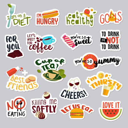 social web: Set of funny stickers for social network. Food and drink stickers for mobile messages, chat, social media, online communication, networking, web design. Illustration