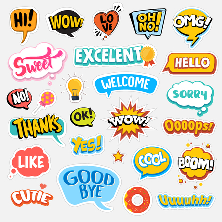 Set of flat design social network stickers. Isolated vector illustrations for online communication, networking, social media, web design, mobile message, chat, marketing material.