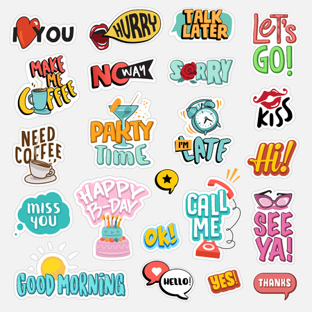 Set of flat design social network stickers. Isolated vector illustrations for online communication, networking, social media, web design, mobile message, chat,  marketing material. Фото со стока - 70057981