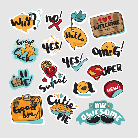 printed material: Set of stickers and signs for everyday communication. Vector illustrations for social network, website design, mobile messages, social media, online communication, cards and printed material, app.