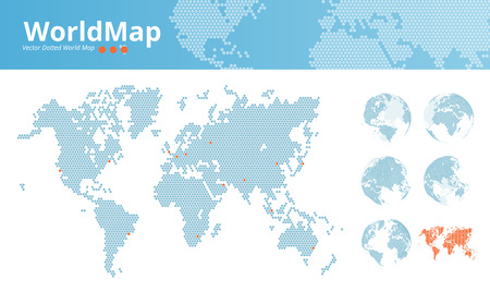 centers: Vector dotted world map. Business world map with marked economic centers and earth globes. Illustration template for web design, annual reports, infographics, business presentations, printed material. Illustration