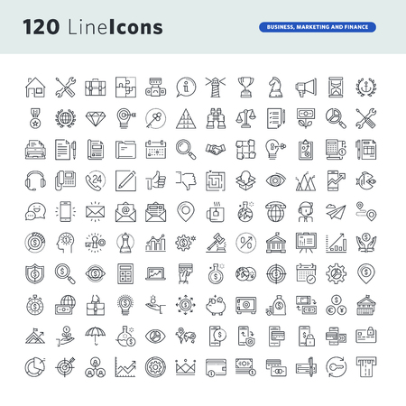 icons business: Set of premium concept icons for business, marketing and finance. Illustration