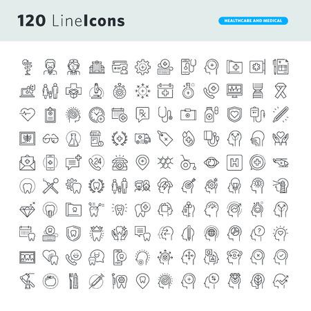 Conjunto de iconos de concepto premium para la salud y la medicina. Línea fina iconos vectoriales para el diseño y desarrollo de sitios web, desarrollo de aplicaciones. Ilustración de vector