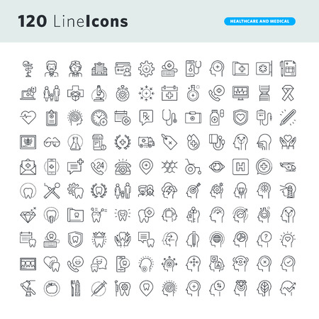 Set of premium concept icons for healthcare and medicine. Thin line vector icons for website design and development, app development. Çizim