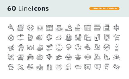 Set di icone di concetto di premio per i servizi di viaggio e hotel. Vettoriali