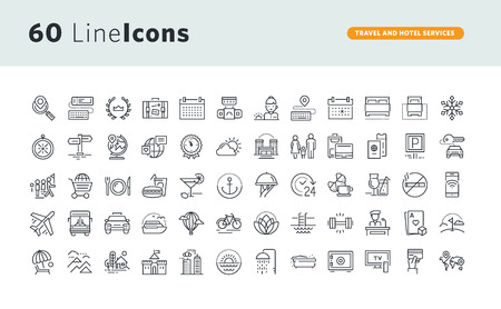 Set of premium concept icons for travel and hotel services. Çizim