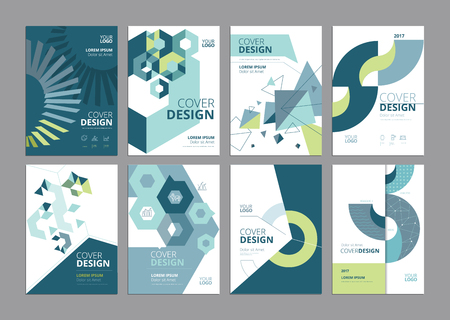 Set of modern business paper design templates. Vector illustrations of brochure covers, annual reports, flyer design layouts, business presentations, ads and magazine, business stationary collection. 向量圖像
