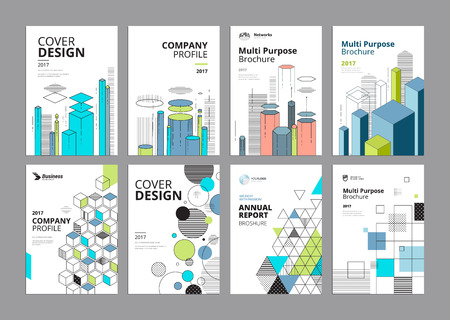 Set of modern business paper design templates. Vector illustrations of brochure covers, annual reports, flyer design layouts, business presentations, ads and magazine, business stationary collection. Ilustração