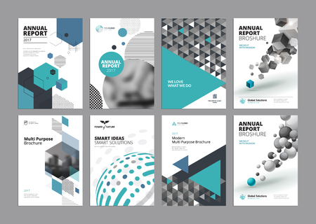 Set of modern business paper design templates. Vector illustrations of brochure covers, annual reports, flyer design layouts, business presentations, ads and magazine, business stationary collection. Stock Illustratie