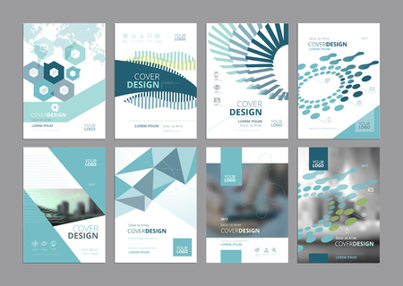 Set of modern business paper design templates. Vector illustrations of brochure covers, annual reports, flyer design layouts, business presentations, ads and magazine, business stationary collection. Illusztráció