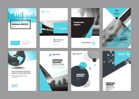 Set of modern business paper design templates. Vector illustrations of brochure covers, annual reports, flyer design layouts, business presentations, ads and magazine, business stationary collection. Vectores