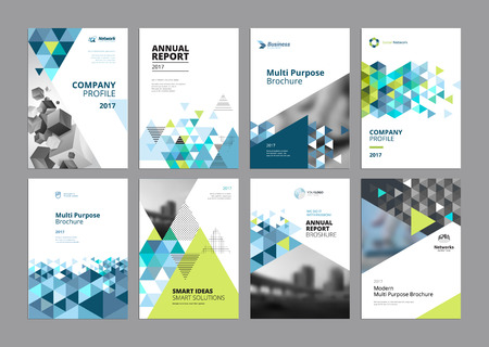 Set of modern business paper design templates. Vector illustrations of brochure covers, annual reports, flyer design layouts, business presentations, ads and magazine, business stationary collection. Vettoriali