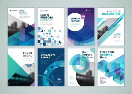 Brochure, jaarverslag, flyer ontwerpsjablonen in A4-formaat. Set van vectorillustraties voor bedrijfspresentatie, handelspapier, corporate document cover en lay-out sjabloonontwerpen.