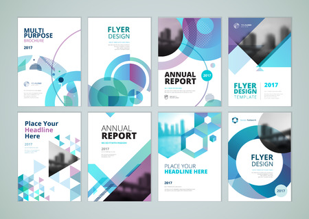 Brochure, annual report, flyer design templates in A4 size. Set of vector illustrations for business presentation, business paper, corporate document cover and layout template designs. Vettoriali