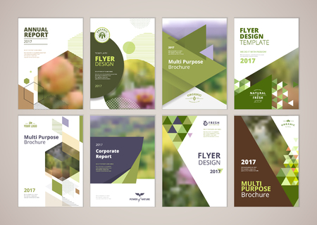 Natural and organic products brochure cover design and flyer layout templates collection. Vector illustrations for marketing material, ads and magazine, natural products presentation templates.