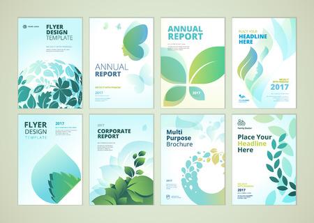 Natuur- en gezondheidszorgproducten brochure cover ontwerp en flyer lay-out templates-collectie. Vectorillustraties voor marketingmateriaal, advertenties en tijdschrift, de malplaatjes van natuurlijke productenpresentatie. Vector Illustratie
