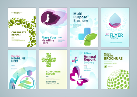 Healthcare and natural products brochure cover design and flyer layout templates collection. Vector illustrations for marketing material, ads and magazine, natural products presentation templates. Reklamní fotografie - 74107148