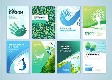 wellness environment: Natural and organic products brochure cover design and flyer layout templates collection. Vector illustrations for marketing material, ads and magazine, natural products presentation templates.