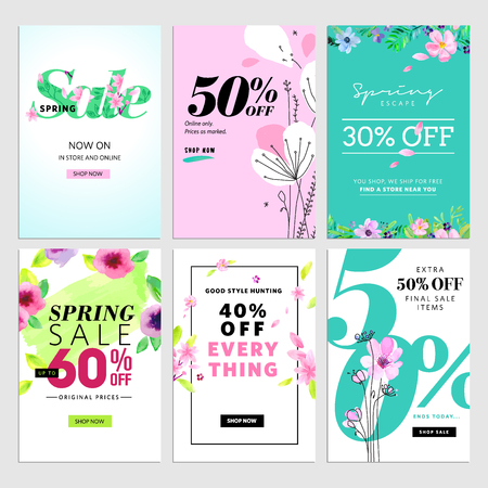 mobile website: Spring sale banners. Vector illustrations of online shopping website and mobile website banners, posters, newsletter designs, ads, coupons, social media banners.