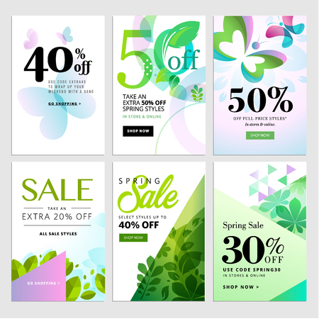 mobile website: Set of mobile spring sale banners. Vector illustrations of online shopping website and mobile website banners, posters, newsletter designs, ads, coupons, social media banners.