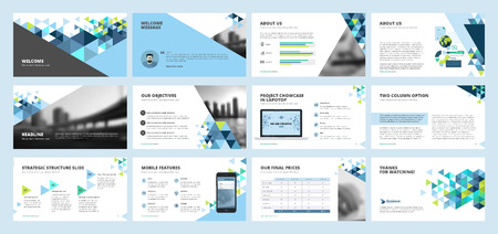 Business presentation templates. Set of vector infographic elements for presentation slides, annual report, business marketing, brochure, flyers, web design and banner, company presentation. Vettoriali
