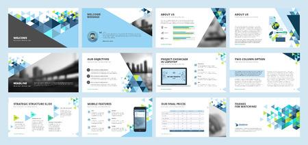 Business presentation templates. Set of vector infographic elements for presentation slides, annual report, business marketing, brochure, flyers, web design and banner, company presentation. Illustration