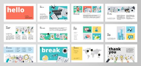 Business presentation templates. Flat design vector infographic elements for presentation slides, annual report, business marketing, brochure, flyers, web design and banner, company presentation. Illustration