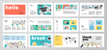 Business presentation templates. Flat design vector infographic elements for presentation slides, annual report, business marketing, brochure, flyers, web design and banner, company presentation. Çizim