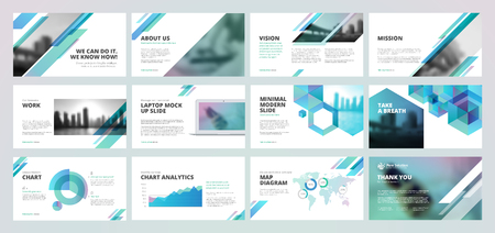 Business presentation templates. Set of vector infographic elements for presentation slides, annual report, business marketing, brochure, flyers, web design and banner, company presentation. 向量圖像