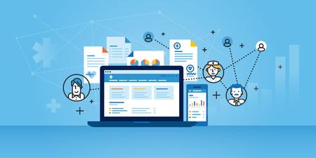 Flat line design website banner of health plan management solutions.