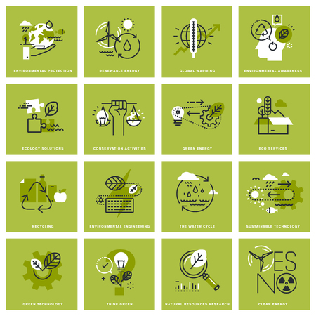 Set of thin line concept icons of environment, renewable energy, sustainable technology, recycling, ecology solutions. Ilustração