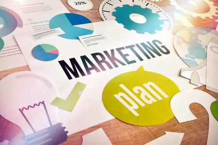 Marketing plan concept design. Concept for website and mobile banner, internet marketing, social media and networking, e-commerce, presentation template, marketing material.