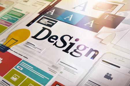 Ontwerpconcept voor verschillende ontwerpcategorieën, zoals grafisch en webdesign, logo, stationair en productontwerp, bedrijfsidentiteit, branding, marketingmateriaal, mobiele app, sociale media. Stockfoto