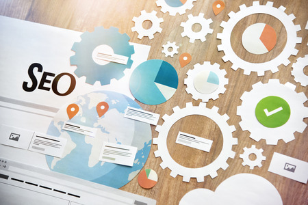 SEO concept design. Concept for website and mobile website development and optimization, app development, responsive design optimization, social media and network, e-commerce, cloud computing. Stock Photo