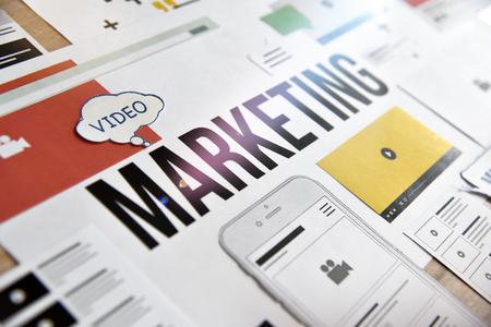 Video marketing conceptontwerp. Concept voor marketing, internetreclame, videostreaming, videozelfstudies, videoadvertenties, bedrijfspresentatie, entertainment, apps.