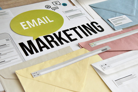 E-mail marketing concept. Concept for marketing, internet advertising, newsletter, social media services, communication.