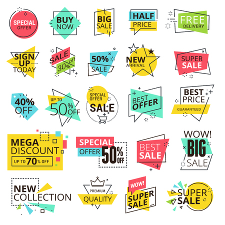 online logo: Sale labels collection. Modern vector illustration labels for shopping, e-commerce, product promotion, social media stickers, marketing.
