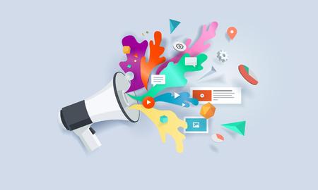 mobile apps: Creative concept banner. Vector illustration for internet marketing, social media, SEO, advertising, e-commerce, apps.