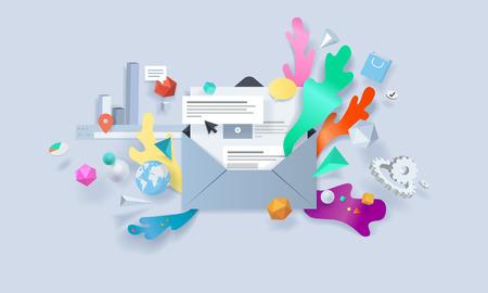 mobile apps: Creative concept banner. Vector illustration for email marketing, social media, newsletter, online advertising, e-commerce, apps.
