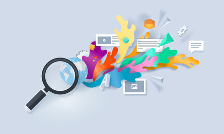 Creative concept banner. Vector illustration for searching solution, browsing, research, apps.