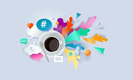 Creative concept banner. Vector illustration for social media, networking, online communication, testimonials, reviews. Illustration