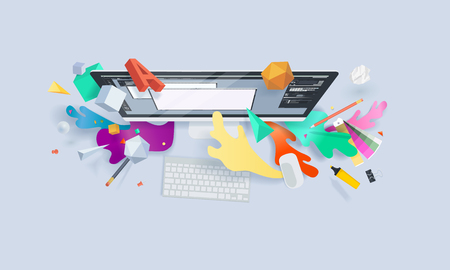Creative concept banner. Vector illustration for graphic and web design, logo design, vector design, stationary, branding, corporate identity, product design. Ilustracja