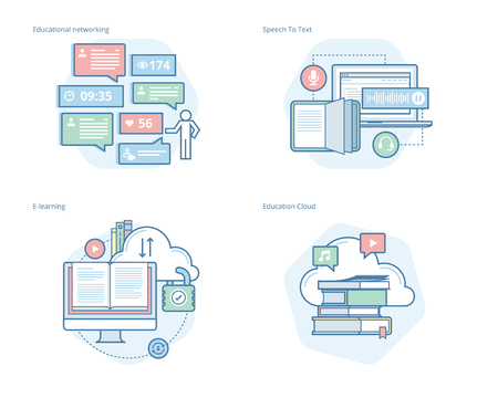 university application: Set of concept line icons for education apps, networking, e-learning, education cloud. UIUX kit for web design, applications, mobile interface, infographics and print design. Illustration