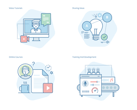 Set of concept line icons for education, video tutorials, online courses, training and development, sharing ideas. UI/UX kit for web design, applications, mobile interface, infographics and print design.