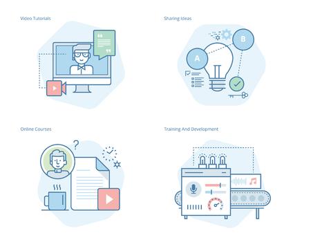 Ensemble d'icônes de ligne de concept pour l'éducation, tutoriels vidéo, cours en ligne, formation et développement, partage d'idées. Kit UI / UX pour la conception web, les applications, l'interface mobile, l'infographie et la conception imprimée. Vecteurs
