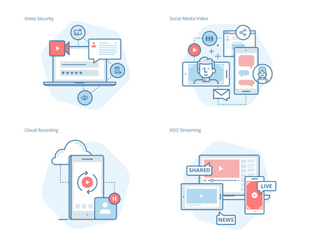 Set of concept line icons for social media video, cloud recording, VOD streaming, video security, online video streaming. UIUX kit for web design, applications, mobile interface, infographics and print design.